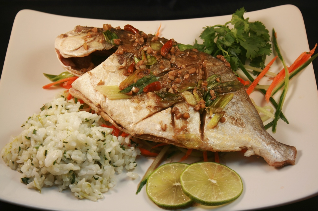 Whole fried fish with szechuan sauce recipe round trip for Pompano fish recipes
